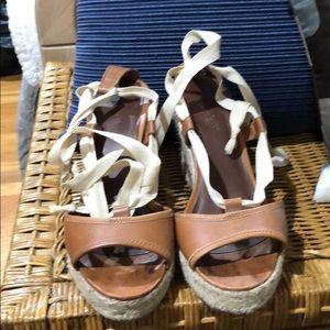JCrew Brown Leather Espadrilles